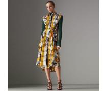 Hemdkleid aus Baumwolle im Karo- und Vintage-Schaldesign