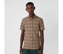 Kurzärmeliges Baumwollhemd mit Karomuster