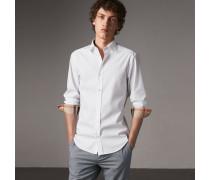 Hemd aus Stretch-Baumwollpopelin mit Check-Detail
