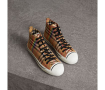 Hohe Sportschuhe mit Rainbow Vintage Check-Muster