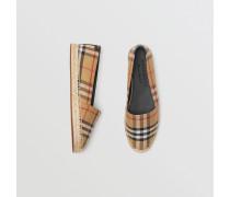 Espadrilles aus Vintage Check-Gewebe und Leder