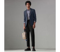 Jackett aus Stretchwolle mit Windowpane-Muster
