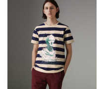 Gestreiftes Baumwoll-T-Shirt mit Porträtmotiv