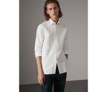 Langes Hemd aus Oxford-Baumwolle mit Stickdetail
