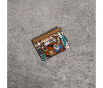 Kartenetui aus Leder mit witziger Applikation