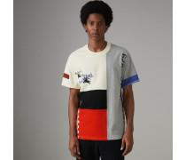 Baumwoll-T-Shirt in Paneloptik mit Vintage-Logo