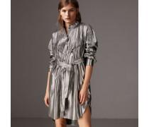 Hemdkleid aus Seidenlamé mit Biesendetail