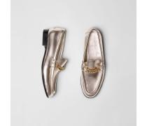 The Link Loafer aus Metallic-Leder