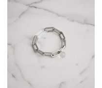 Palladium-beschichtetes Armband mit Glasanhänger