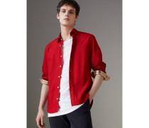 Hemd aus Stretch-Baumwollpopelin mit Karodetail