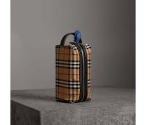 Etui aus Vintage Check-Gewebe und Leder