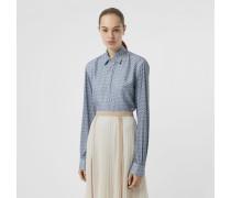 Oversize-Bluse aus Seide mit Monogrammmuster
