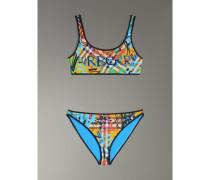 Bikini mit Vintage Check- und Graffitimuster
