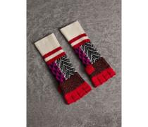 Fingerlose Handschuhe aus Wolle und Kaschmir im Patchworkdesign