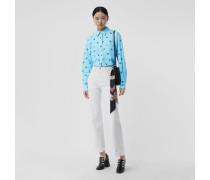 Bluse aus Stretchbaumwolle mit Logo-Print