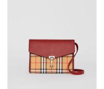 Kleine Crossbody-Tasche aus Vintage Check-Gewebe und Leder