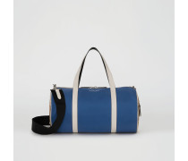Mittelgroße Barrel Bag im Vintage Check- und Colour-Blocking-Design