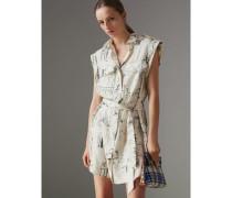 Hemdkleid aus Seide mit Druckmotiv