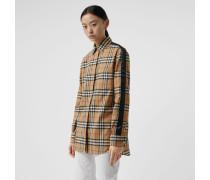 Bluse mit Vintage Check-Muster und Satinstreifen
