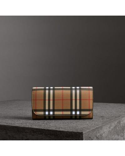 Vintage Check-Brieftasche im Kontinentalformat