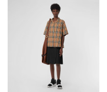 Kurzärmelige Bluse mit Vintage Check-Muster