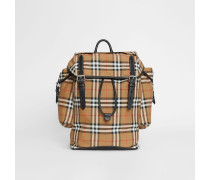 Rucksack aus Vintage Check-Gewebe und Leder