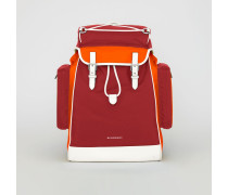 Rucksack aus Nylon und Leder in Dreitonoptik