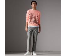 Pullover aus Baumwolle mit Doodle-Motiv