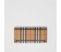 Brieftasche im Kontinentalformat aus Vintage Check-Gewebe und Leder