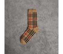 Socken aus Baumwolle mit Vintage Check-Muster