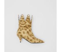 Stiefeletten mit Leopardenmuster und Ösendetail