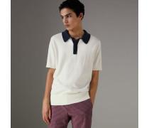 Poloshirt aus gestrickter Baumwolle in Zweitonoptik