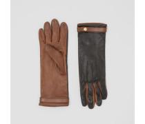 Handschuhe aus Lammleder in Zweitonoptik
