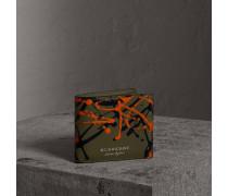 Faltbrieftasche aus Trench-Leder im Farbklecks-Design für alle Währungen