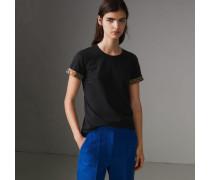 T-Shirt aus Stretchbaumwolle mit Karodetail