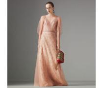 Kleid mit floraler Stickerei und Puffärmeln