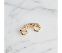 Vergoldeter Zweifingerring mit Kettendetail