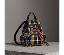 The Small Rucksack aus Baumwolle im Karodesign und Leder