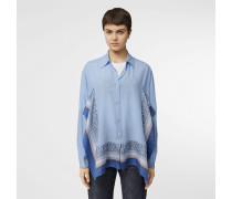 Oversize-Bluse aus Seide mit Monogrammmusterbesatz