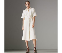 Kurzärmeliges Hemdkleid aus Wolle und Seide