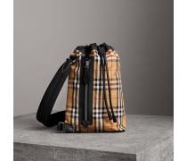 Kleine Duffle-Tasche aus Vintage Check-Baumwolle