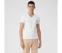 T-Shirt aus Baumwolljersey mit V-Ausschnitt