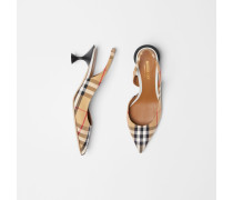 Slingback-Pumps im Vintage Check-Design