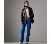 Zweireihige Jacke aus gebondetem Lammleder