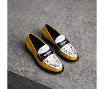 Loafer aus Lackleder mit Webdetail