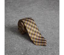 Schmale Krawatte aus Seidenjacquard mit Karomuster