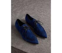 Derby-Schuhe aus Veloursleder mit Webdetail