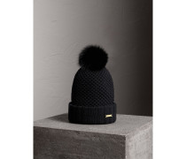 Beanie-Mütze mit Pelzbommel