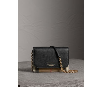 Brieftasche aus Leder und House Check-Gewebe