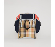 Lederrucksack im Vintage Check- und Colour-Blocking-Design